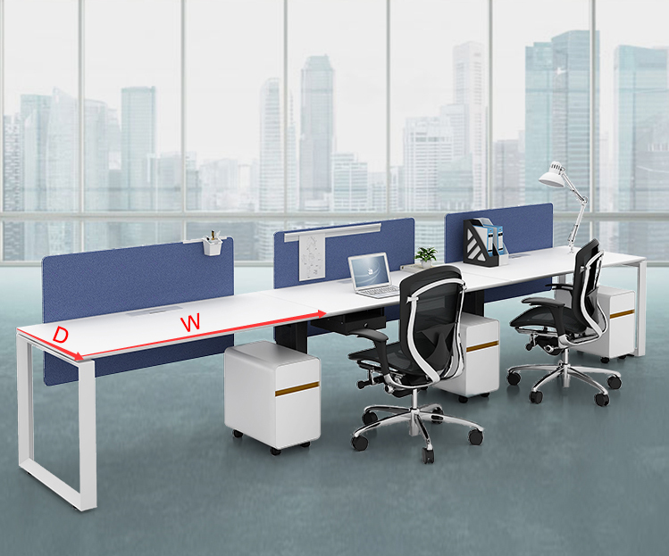 High quality modern style metal aluminum frame 3 seats office desk