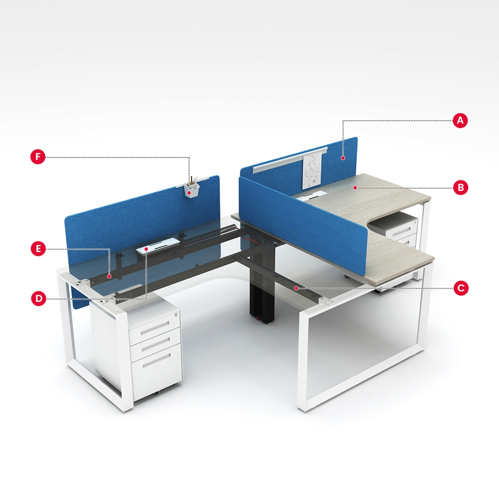 Buy modern design single side 2 seaters L shape MFC office desks and tables factory price